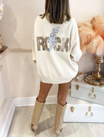 SEQUIN ROCK MOTIF JUMPER VARIOUS COLOURS