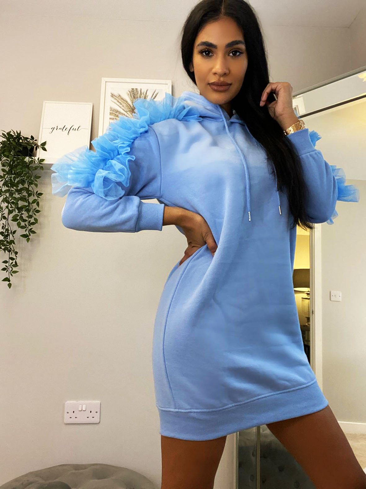 RUFFLE SLEEVE HOODED JUMPER DRESS VARIOUS COLOURS