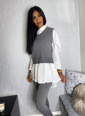 CONTRAST SHIRT KNIT LOUNGE SET VARIOUS COLOURS