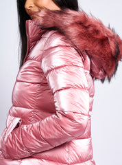 SIDE ZIP PUFFER COAT PINK