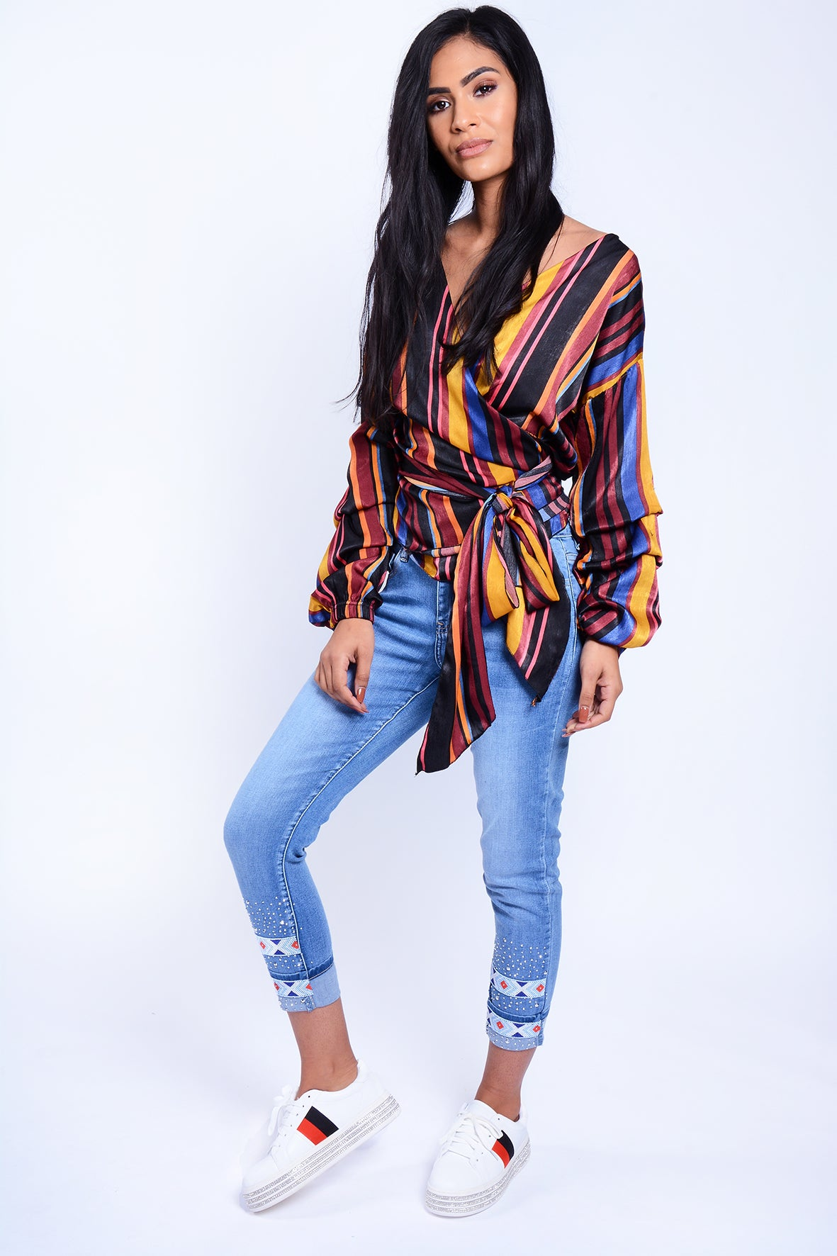 Wrap Around Top Multi Stripe