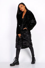 LONG TEDDY COAT BLACK