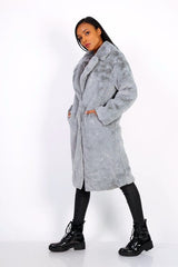 LONG TEDDY COAT GREY
