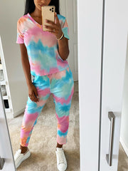 V-NECK TIE DYE PRINT LOUNGE SET VARIOUS COLOURS
