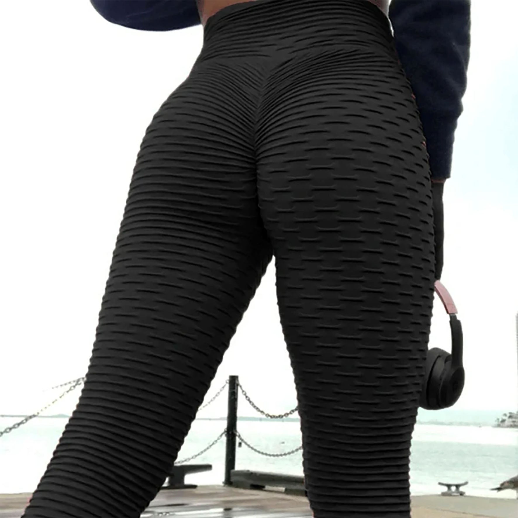 HIGH RISE STRETCH FIT WAFFLE LEGGINGS BLACK