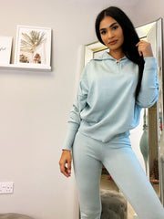 ZIP COLLAR KNITTED LOUNGE SET VARIOUS COLOURS