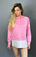 HOODED OVER SIZED SHIRT TOP PINK