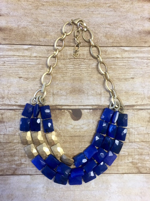 Gold and Navy Chain and Stone Necklace