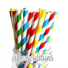 COMBO PAPER STRAWS: Primary Color | Super Hero Party | 1st Birthday | Sesame Street - From Me 2 You Creations