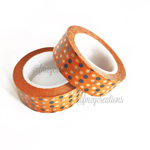 WASHI TAPE: POLKA DOT ORANGE|BLACK