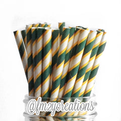 STRIPE PAPER STRAWS: Green|Yellow - From Me 2 You Creations
