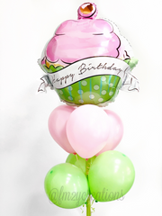 Pink and Green Happy Birthday Cupcake Balloon Bouquet
