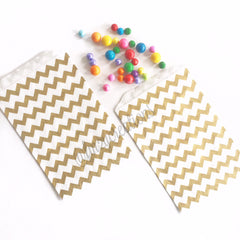 CHEVRON FAVOR BAGS: GOLD - From Me 2 You Creations