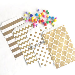 STRIPE FAVOR BAGS: GOLD - From Me 2 You Creations