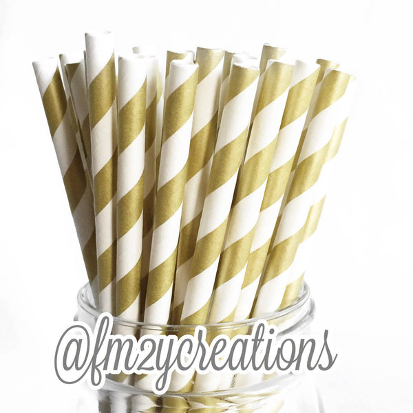 VINTAGE LONG STRIPE PAPER STRAWS: Gold