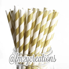 VINTAGE LONG STRIPE PAPER STRAWS: Gold - From Me 2 You Creations