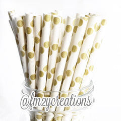 POLKA DOT PAPER STRAWS: Gold - From Me 2 You Creations