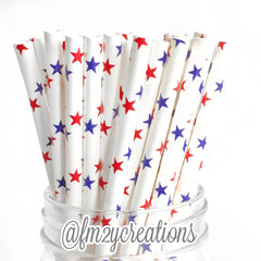 STAR PAPER STRAWS: Red|White|Blue - From Me 2 You Creations