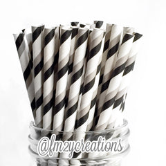 STRIPE PAPER STRAWS: BLACK|GRAY - From Me 2 You Creations
