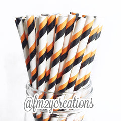 STRIPE PAPER STRAWS: ORANGE|BLACK - From Me 2 You Creations