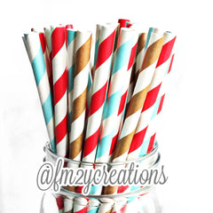COMBO PAPER STRAWS: Sock Monkey - From Me 2 You Creations