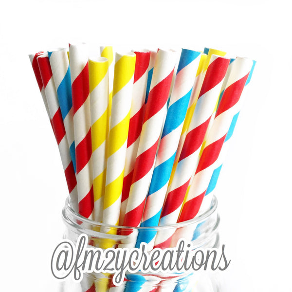COMBO PAPER STRAWS: Primary Color | Super Hero Party | 1st Birthday | Sesame Street
