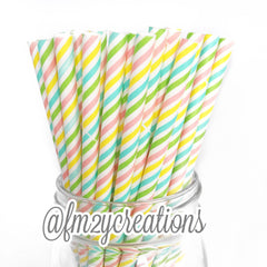 STRIPE PAPER STRAWS: Multi Pastel - From Me 2 You Creations