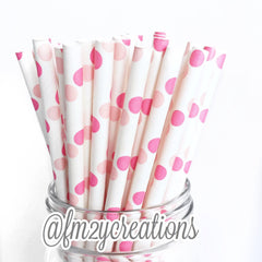COMBO PAPER STRAWS: Double Pink Stripe & Polka Dot - From Me 2 You Creations