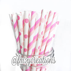 STRIPE PAPER STRAWS: Pink Double - From Me 2 You Creations
