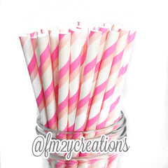 POLKA DOT PAPER STRAWS: Pink Double - From Me 2 You Creations