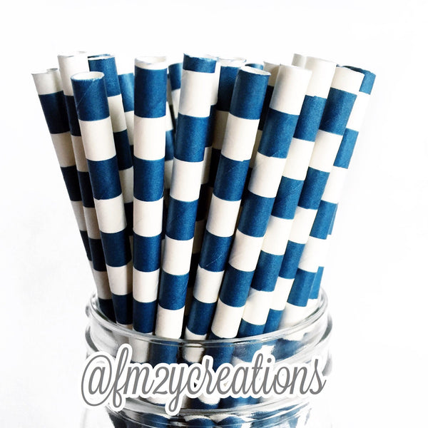 CIRCLE PAPER STRAWS: Navy Blue