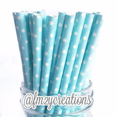 POLKA DOT PAPER STRAWS: Light Blue Swiss - From Me 2 You Creations