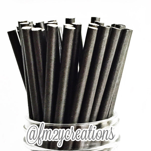 SOLID PAPER STRAWS: Black