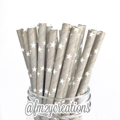 STAR PAPER STRAWS: Gray - From Me 2 You Creations