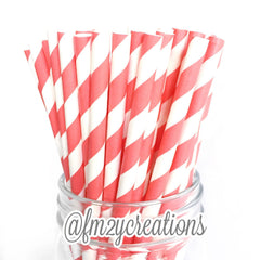 VINTAGE LONG STRIPE PAPER STRAWS: Coral - From Me 2 You Creations