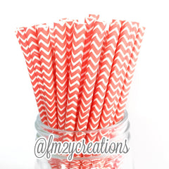 CHEVRON PAPER STRAWS: Coral - From Me 2 You Creations