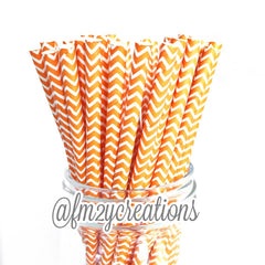 CHEVRON PAPER STRAWS: Orange - From Me 2 You Creations