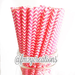CHEVRON PAPER STRAWS: Pink - From Me 2 You Creations
