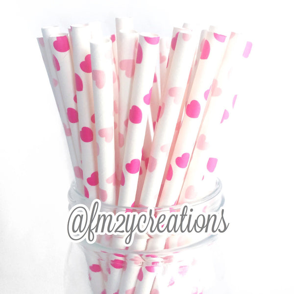 HEART PAPER STRAW: Hot & Light Pink Combo