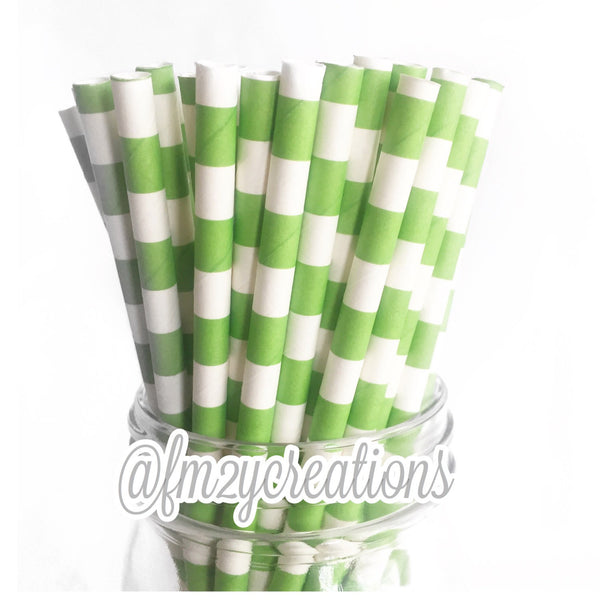 CIRCLE PAPER STRAWS: Lime Green