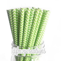 CHEVRON PAPER STRAWS: Lime Green - From Me 2 You Creations