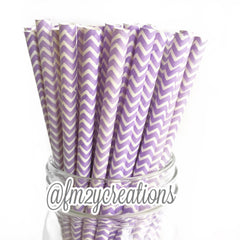 CHEVRON PAPER STRAWS: Light Purple - From Me 2 You Creations