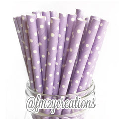 POLKA DOT PAPER STRAWS: Light Purple - From Me 2 You Creations