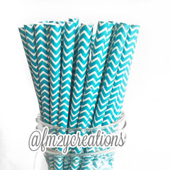 CHEVRON PAPER STRAWS: Turquoise - From Me 2 You Creations