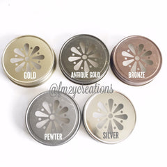 MASON JAR DAISY LIDS:  PEWTER - From Me 2 You Creations