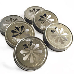 MASON JAR DAISY LIDS:  ANTIQUE GOLD - From Me 2 You Creations