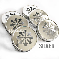 MASON JAR DAISY LIDS:  SILVER - From Me 2 You Creations