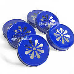 MASON JAR DAISY LIDS: BLUE - From Me 2 You Creations
