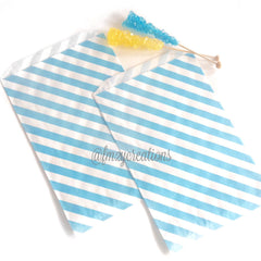 STRIPE FAVOR BAGS: LIGHT BLUE (LARGE) - From Me 2 You Creations