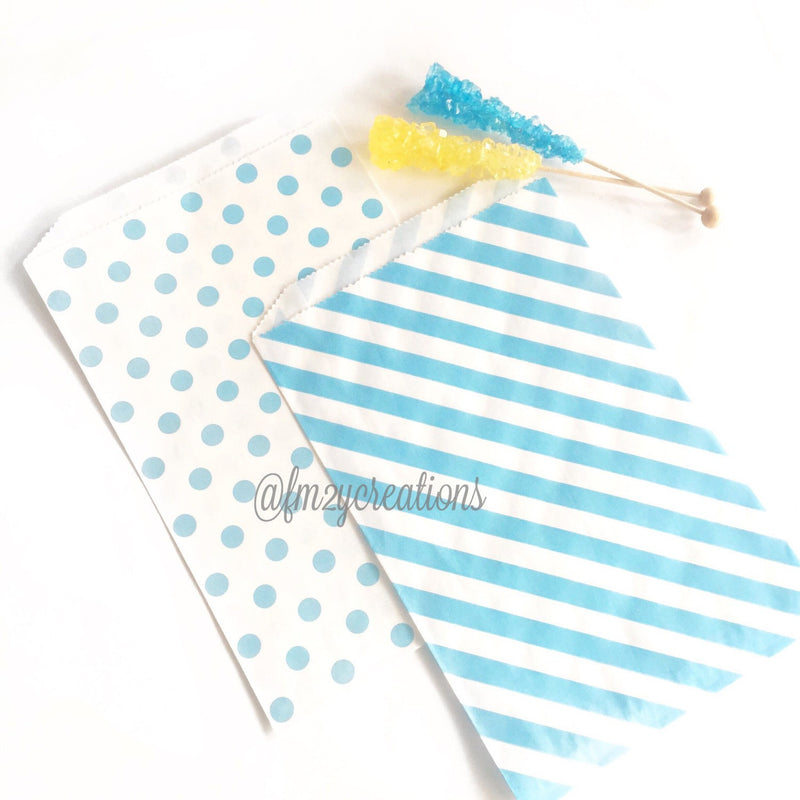 POLKA DOT FAVOR BAGS: BLUE POLKA DOT (LARGE) - From Me 2 You Creations